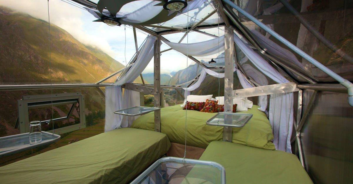 Skylodge ξενοδοχείο Περού κρέμεται στο κενό κρεβάτια