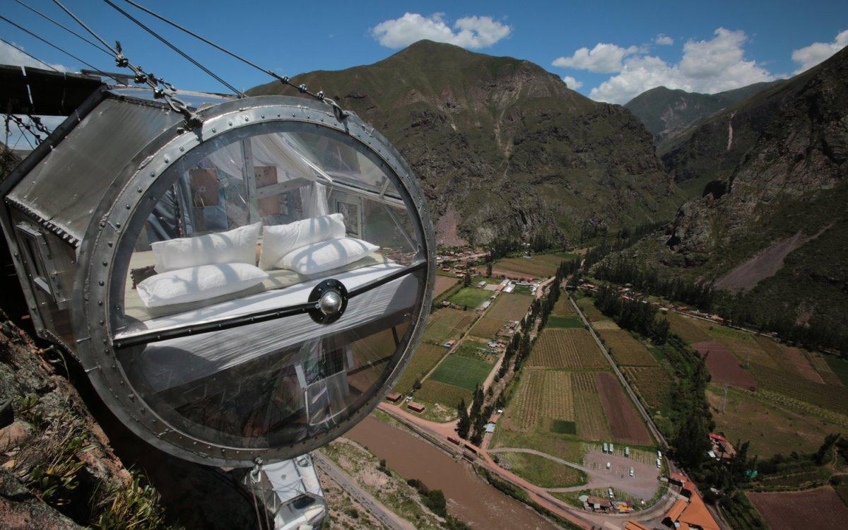 Skylodge ξενοδοχείο Περού κρέμεται στο κενό κάψουλα