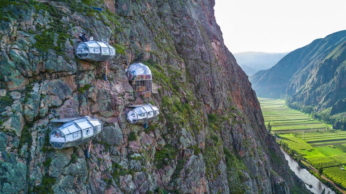 Skylodge ξενοδοχείο Περού κρέμεται στο κενό πανοραμική