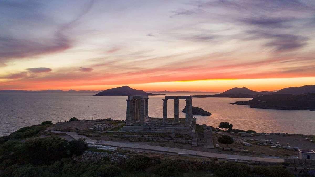 Σούνιο Ναός Ποσειδώνα ηλιοβασίλεμα