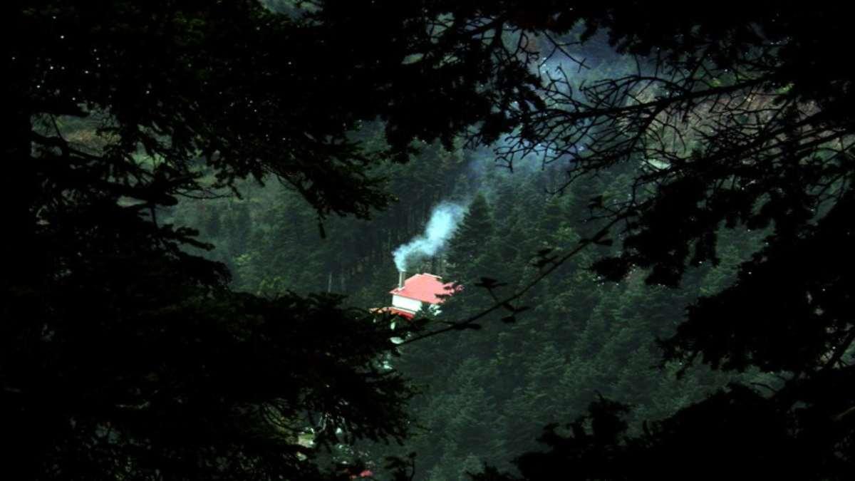 τόρνος χωριό ευρυτανία σπίτι καπνός καμινάδα δάσος