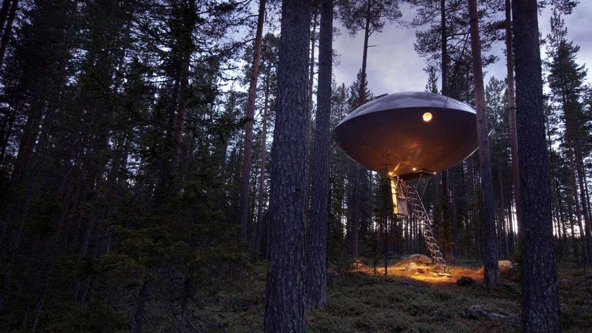 tree hotel UFO εξωτερική κοντινό