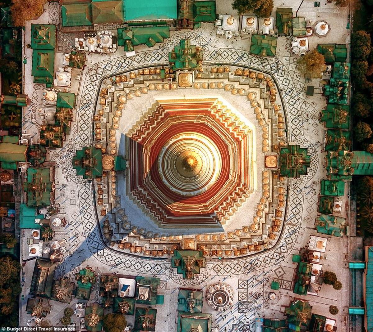 Η ιερή βουδιστική παγόδα Shwedagon στο Μιανμάρ από ψηλά
