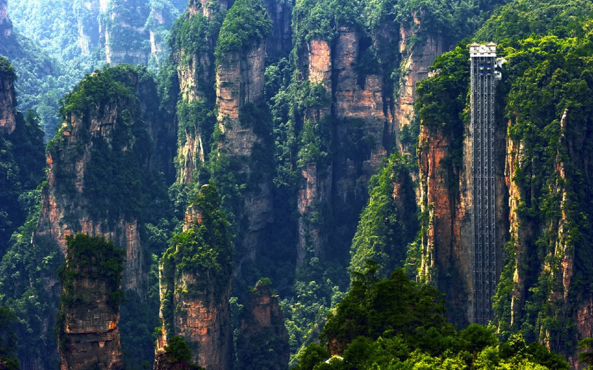Bailong ασανσέρ στην Κίνα το ψηλότερο στον κόσμο σε εξωτερικό χώρο