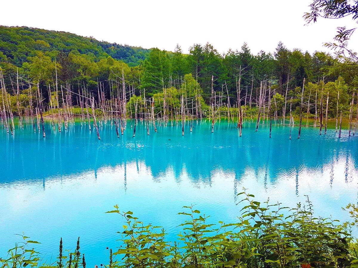 Blue Pond Λίμνη Ιαπωνία αλλάζει χρώμα ανάλογα με το φως από μπλε σε πράσινο