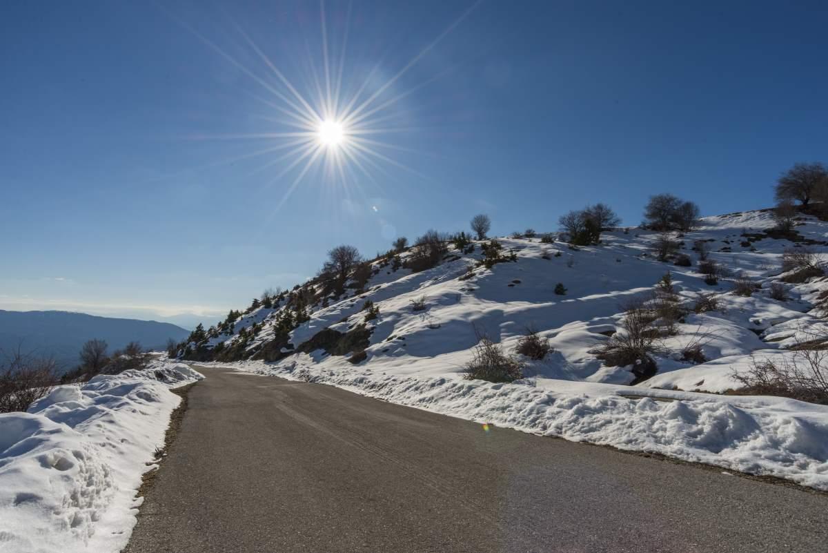Διαδρομή προς το Βραδέτο, χειμώνα με χιόνια