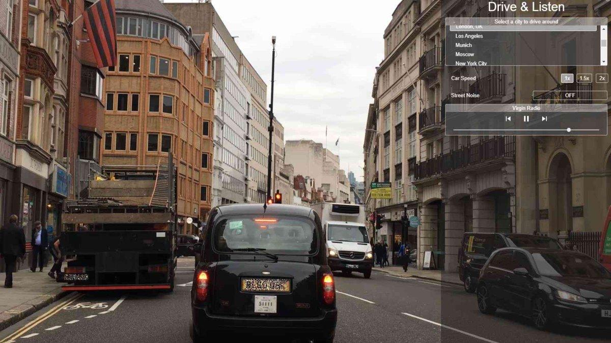 drive and listen εικονικό ταξίδι με αυτοκίνητο στους δρόμους του Λονδίνου