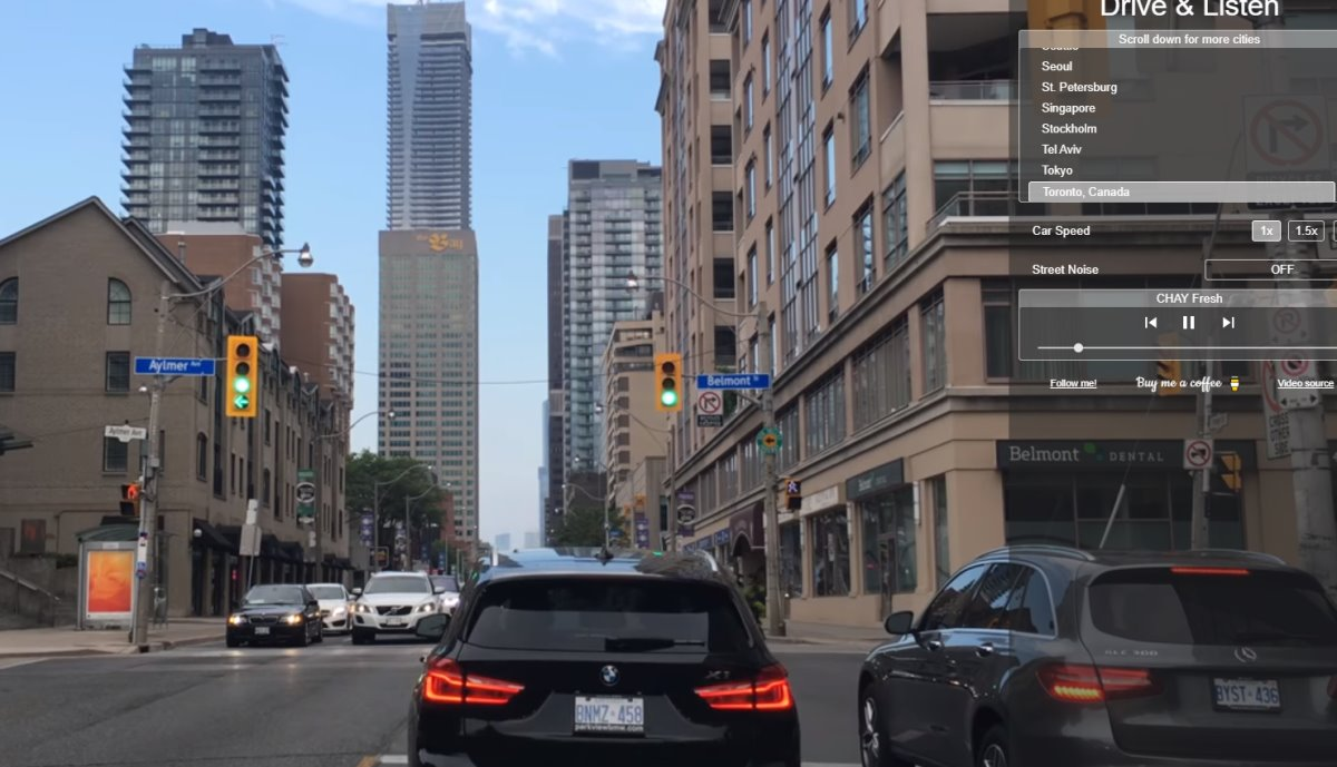 drive and listen εικονικό ταξίδι με αυτοκίνητο στο Τορόντο
