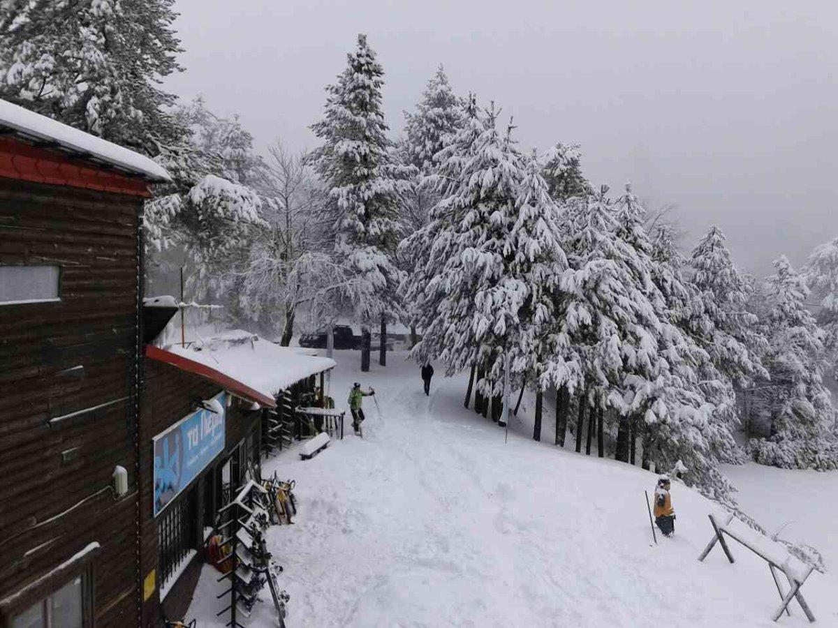 Ελατοχώρι Πιερίας με τα ξύλινα σπιτάκια του στο χιονοδρομικό κέντρο