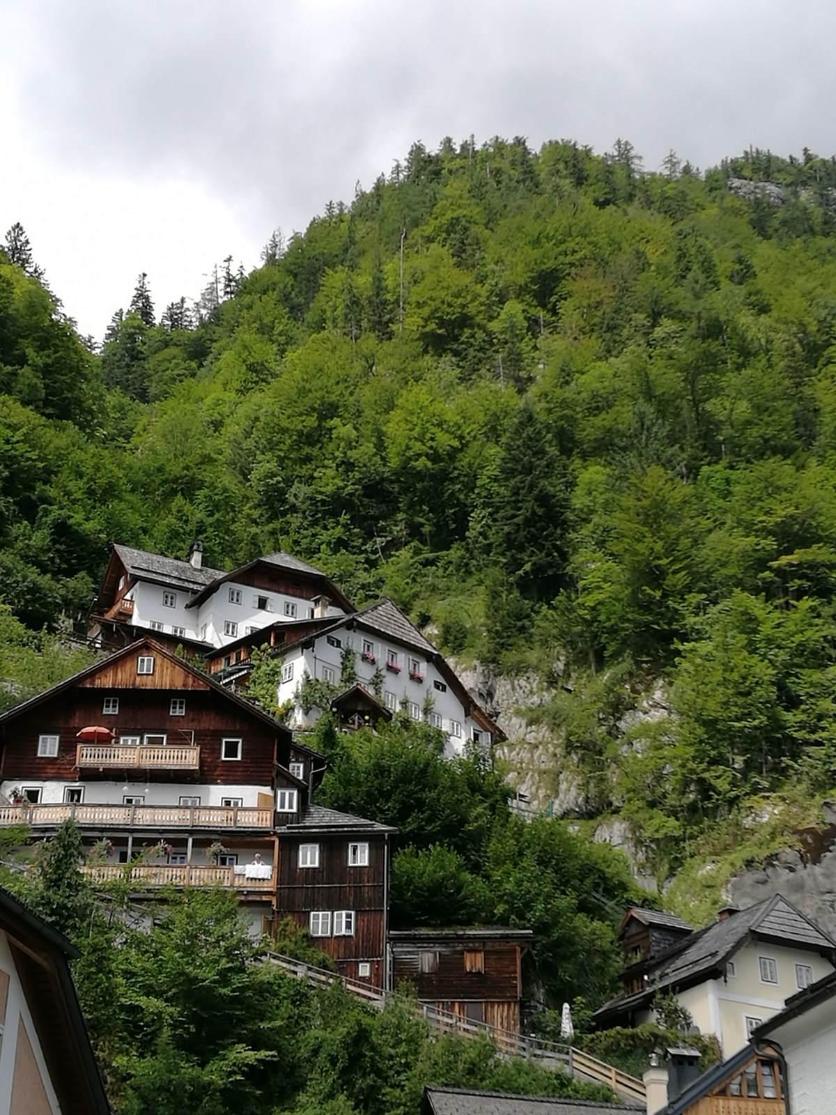 Χάλστατ, Αυστρία τα χαρακτηριστικά σπίτια μέσα στο πράσινο