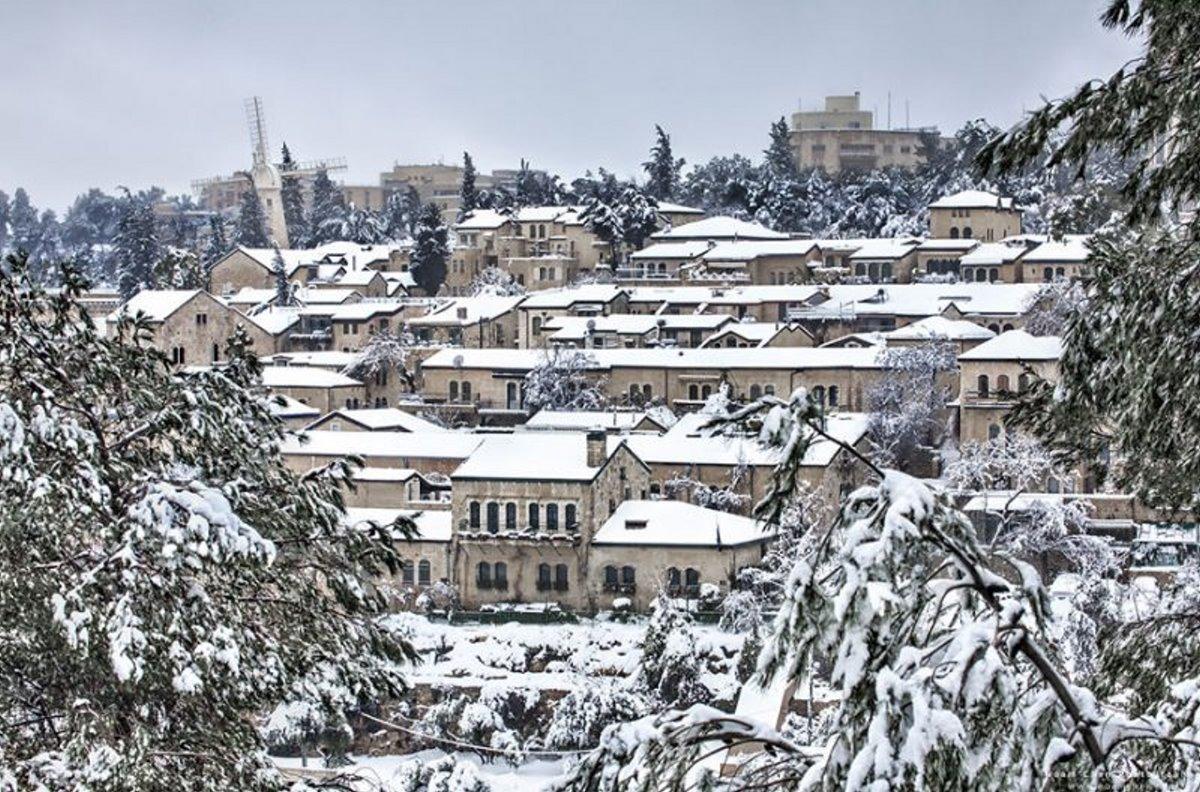 Ιερουσαλήμ πόλη με γοητεία υπέροχες φωτογραφίες από την χιονισμένη πόλη