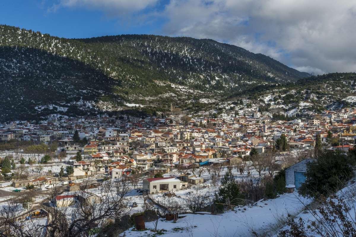 Κυριάκι Βοιωτίας, το χωριό χιονισμένο