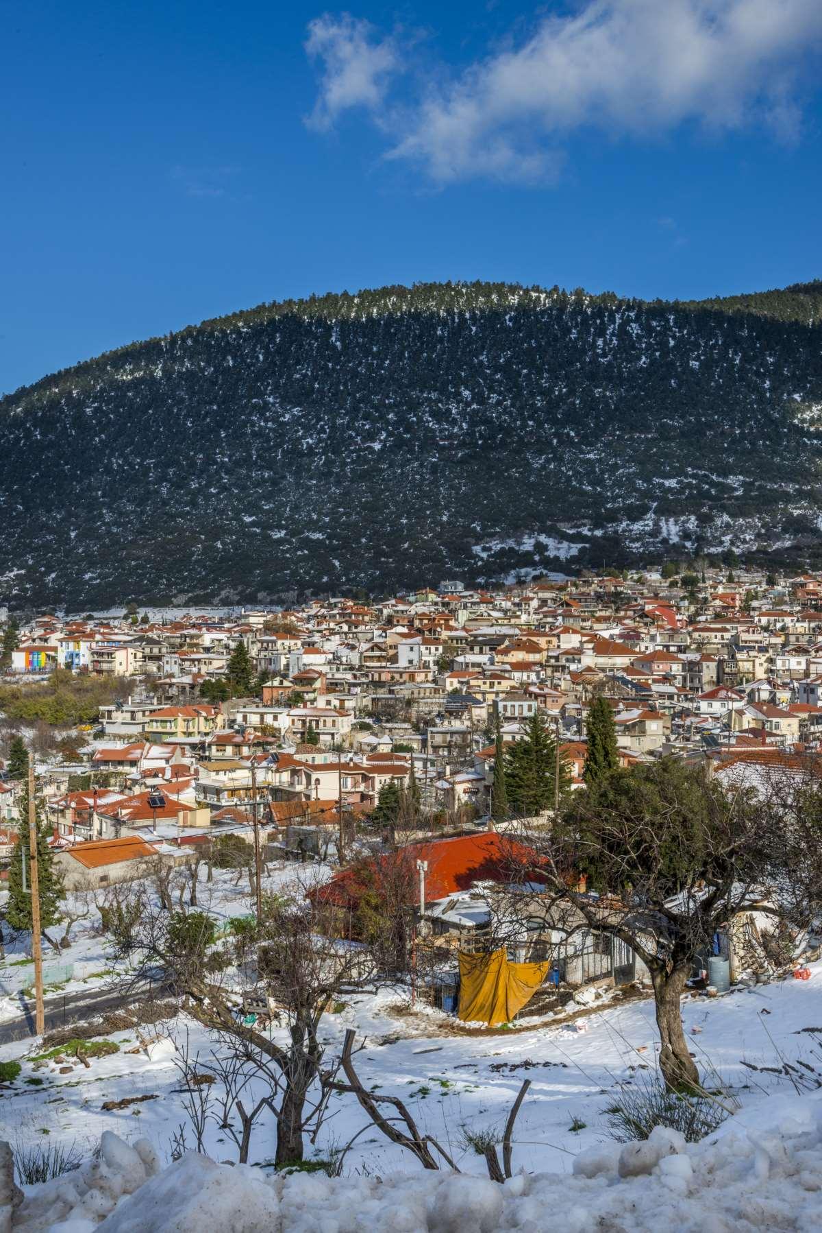 Κυριάκι Βοιωτίας, πανοραμική εικόνα του χωριού με χιόνια