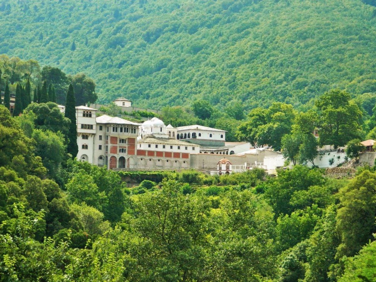 Μοναστήρι παναγία Εικοσιφοινίτισσα παλιαότερο Ευρώπη μέσα στο πράσινο