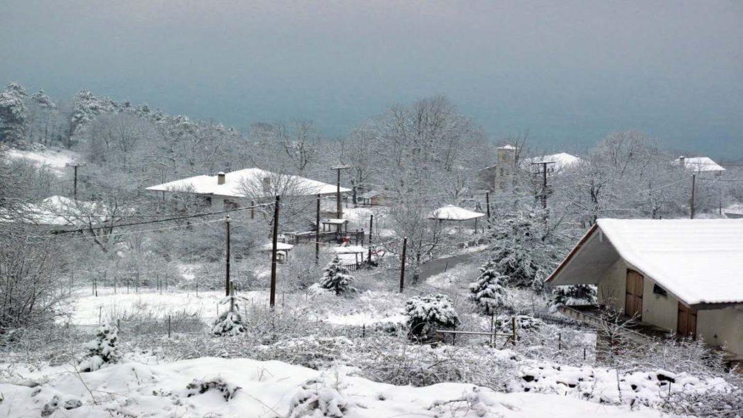 Νευροκόπι χιόνια πόλη χιονισμένη