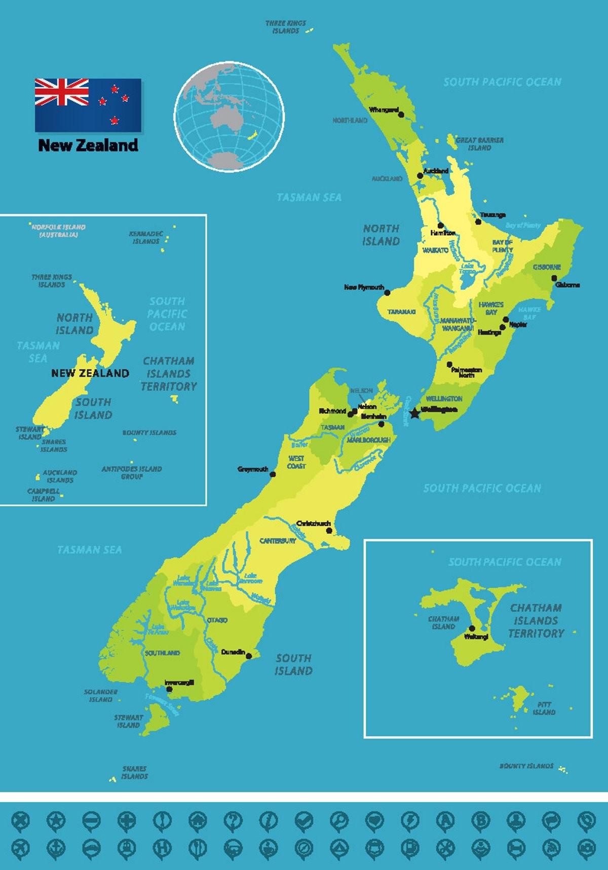 Νησιά Τσατάμ Νέα Ζηλανδία ο χάρτης του αρχιπελάγους