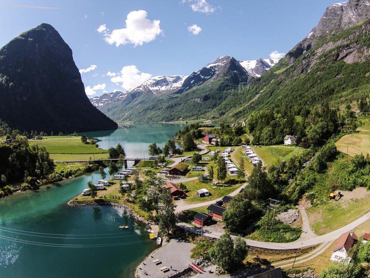 Όμορφα χωριά Ευρώπη Olden Νορβηγία