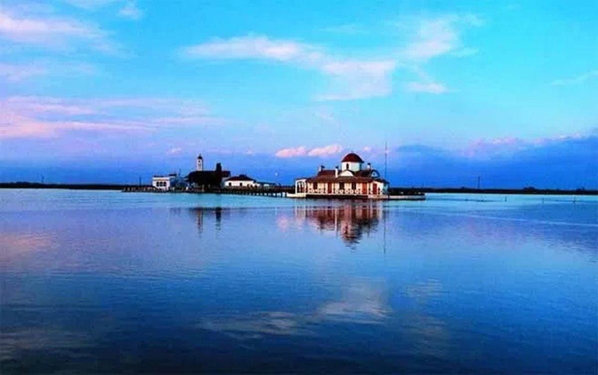 Πλωτό Μοναστήρι Αγίου Νικολάου Ξάνθη πανοραμική λήψη