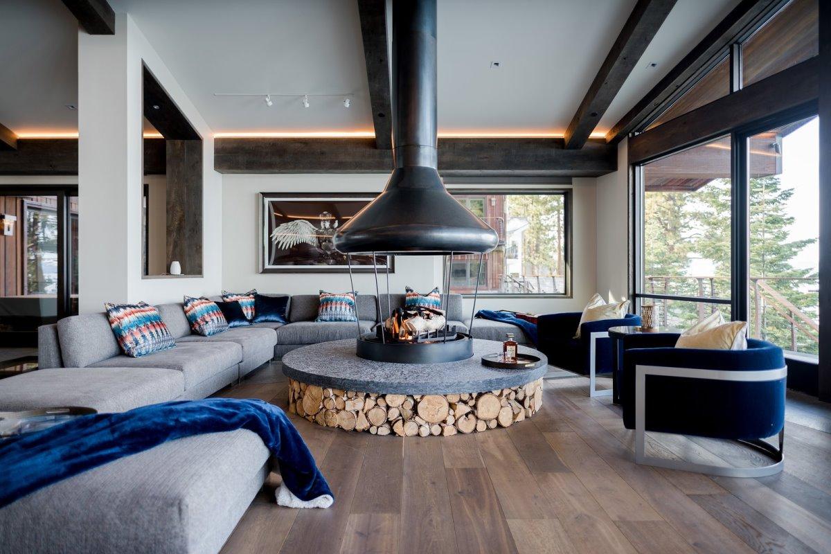 Villa Harrah, cozy χώρος με κυκλικό τζάκι