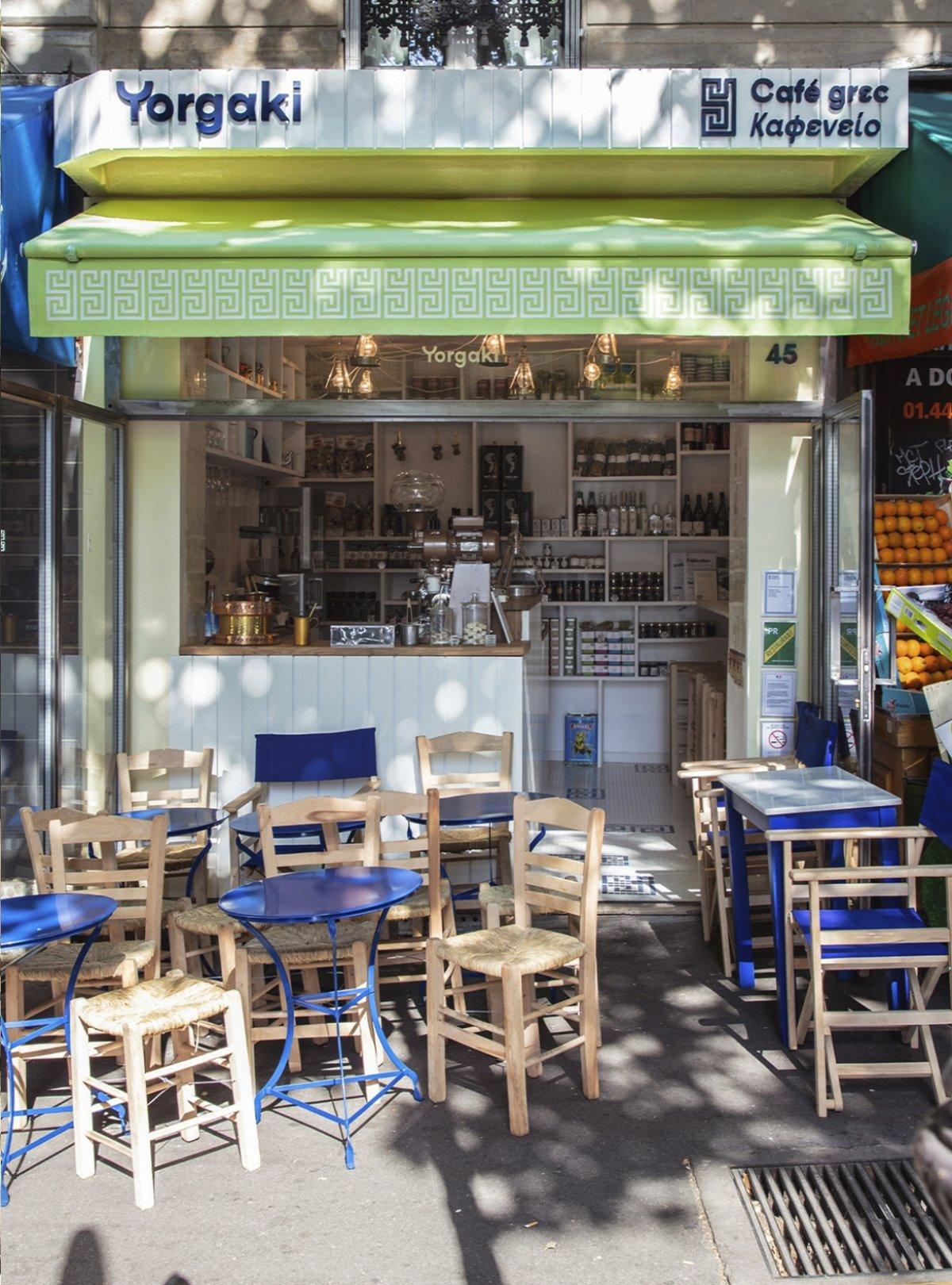 Yorgaki καφέ στο παρίσι παραδοσιακός καφές εξωτερικός χώρος