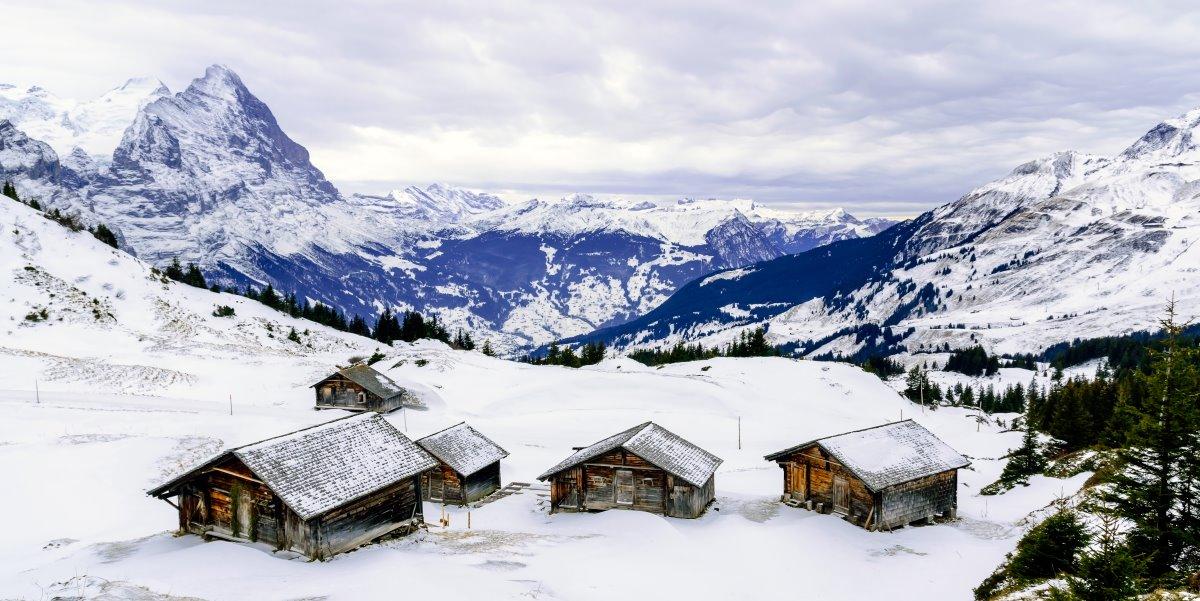 Γκρίντελβαλντ , Ελβετία, χιονισμένο τοπίο
