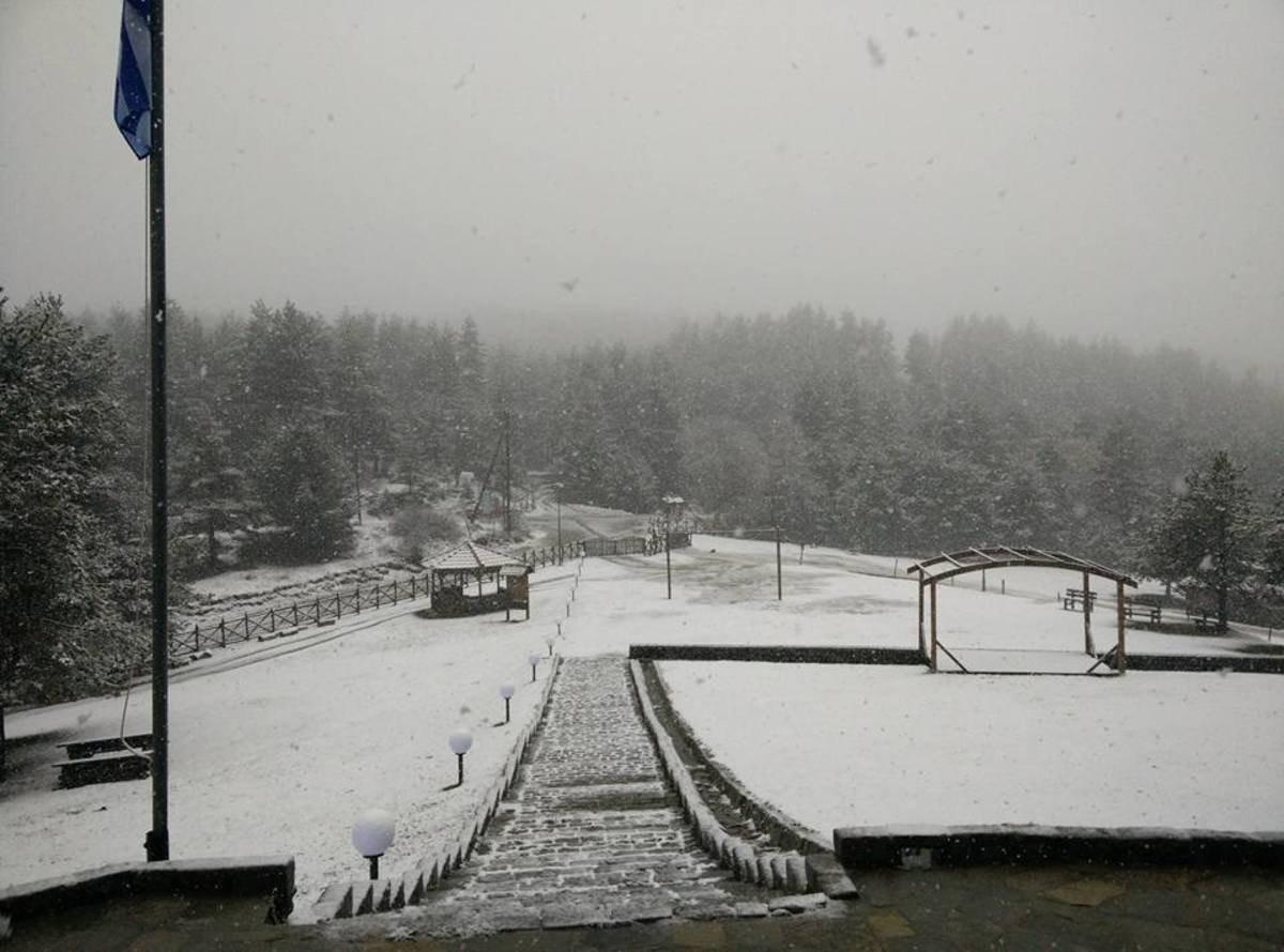 Δασικό χωριό Ξάνθη έπεσαν τα πρώτα χιόνια