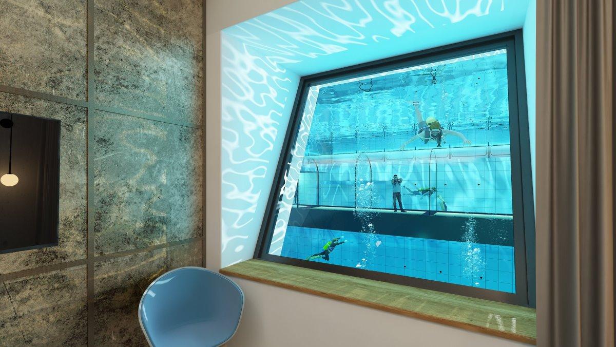 δυνατότητα παρακολούθησης δυτών στην Deepspot βαθύτερη πισίνα Πολωνία