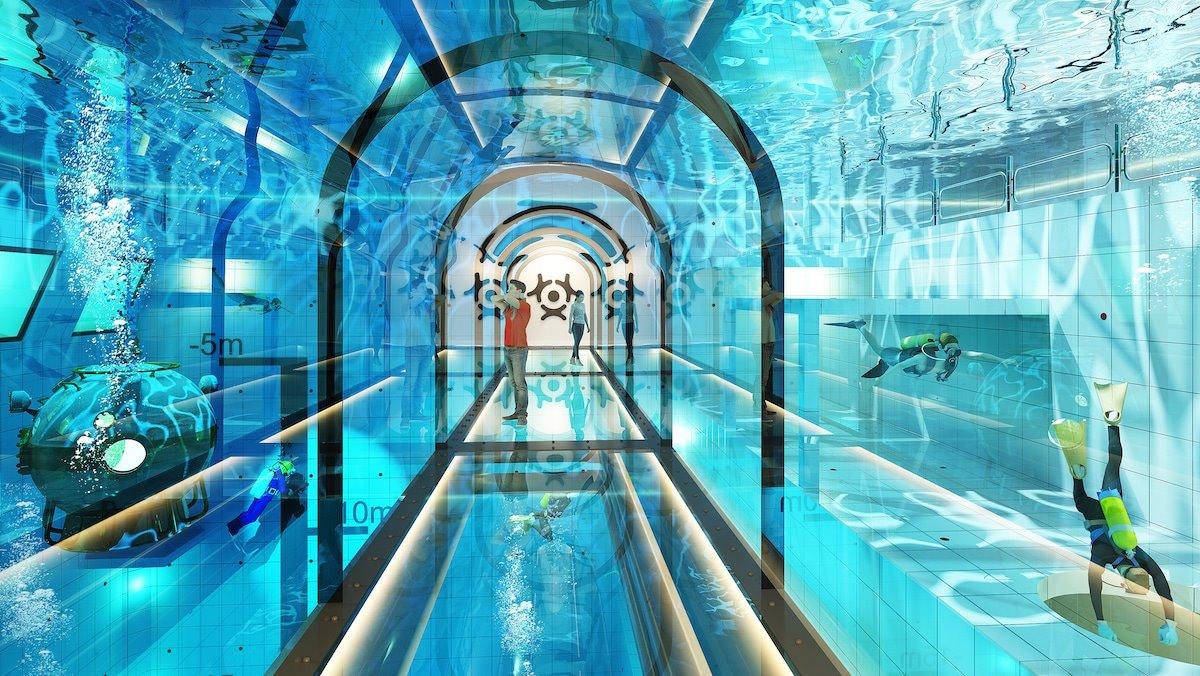 Deepspot βαθύτερη πισίνα Πολωνία με γυάλινη σήραγγα για επισκέπτες