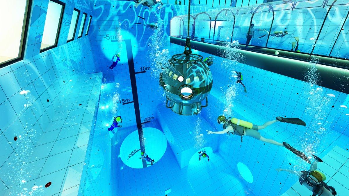 Deepspot βαθύτερη πισίνα Πολωνία στα 45,5 μέτρα