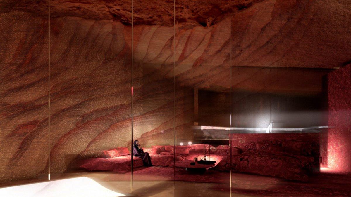 δωμάτιο ξενοδοχείου μέσα στα βράχια
