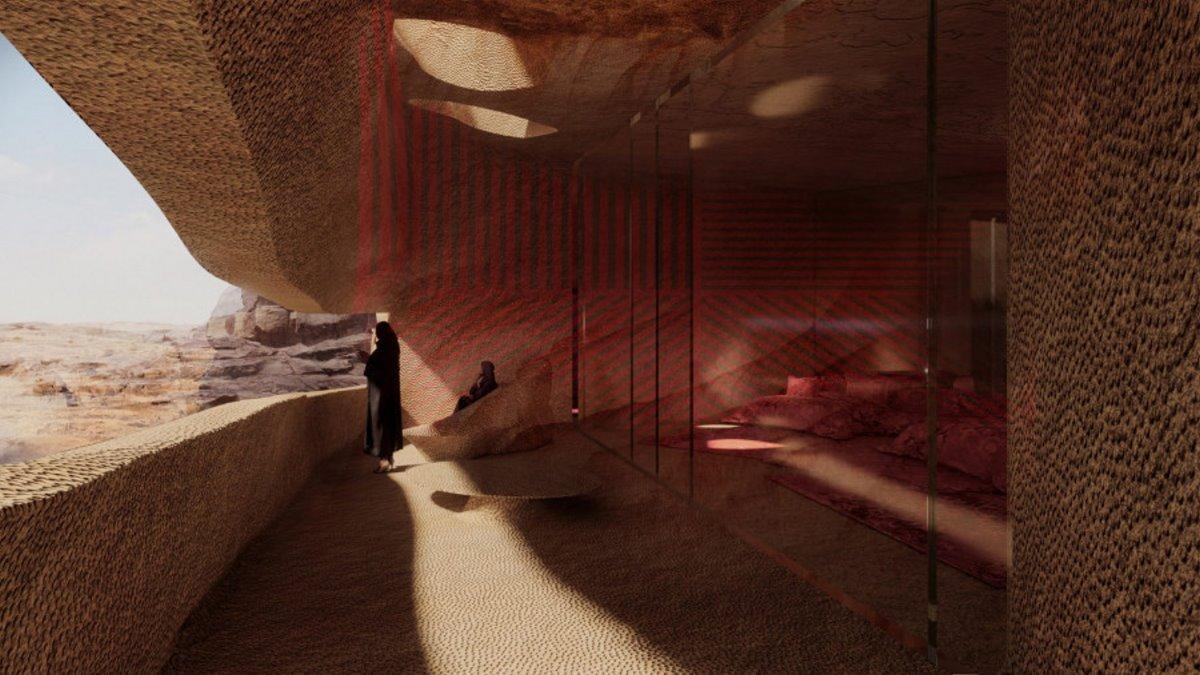 δωμάτιο υπόγειου ξενοδοχείου σε βράχια