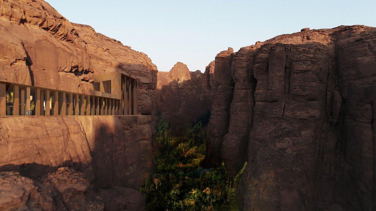 ξενοδοχείο σε ψαμμίτη στην έρημο