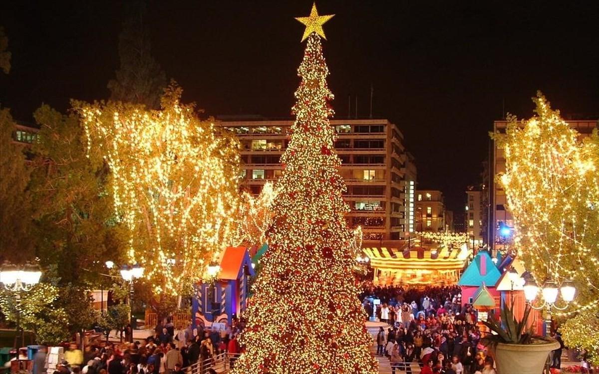 Χριστούγεννα Αθήνα στολισμός στο Σύνταγμα