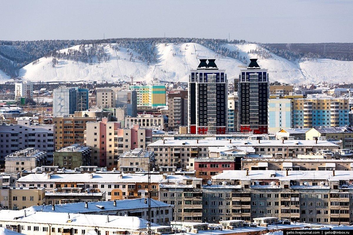 πανοραμική λήψη της χιονισμένης πόλης Yakutsk Σιβηρία