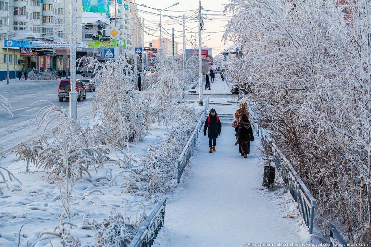 σκεπασμένο με χιόνι είναι το Yakutsk Σιβηρία