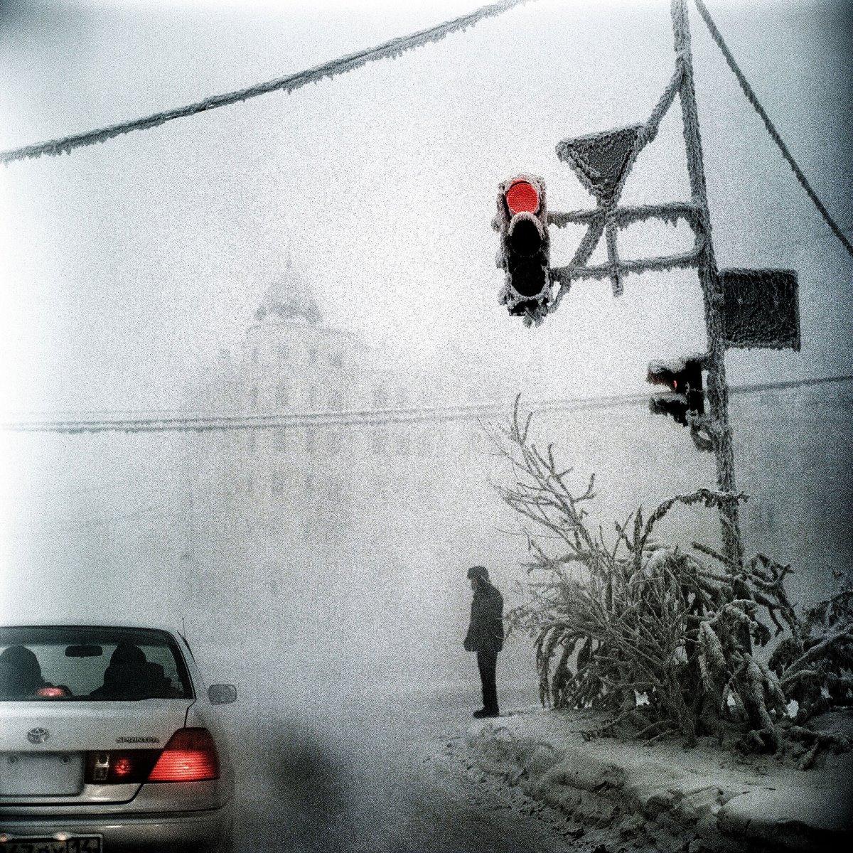 πολικό ψύχος και -41 βαθμοί Κελσίου στο Yakutsk Σιβηρία την πιο κρύα πόλη