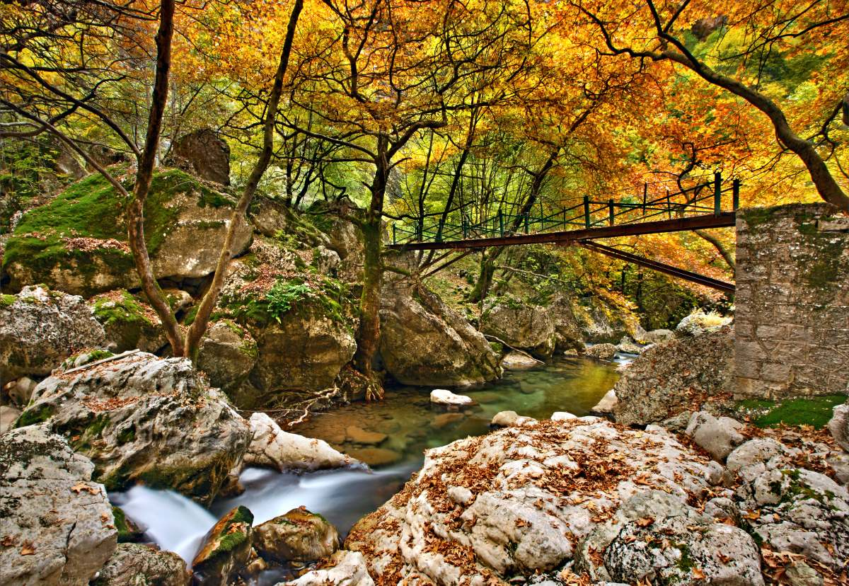 Μεταλλική γέφυρα στο φαράγγι του ποταμού Χρουσίας
