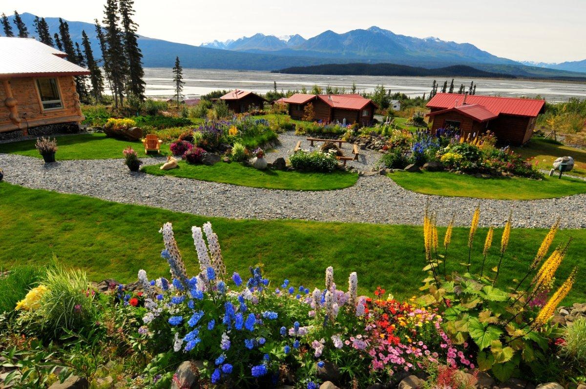 Ultima Thule Lodge στην Αλάσκα ανθισμένος κήπος το καλοκαίρι