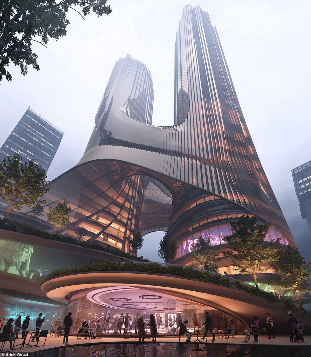 Tower C κάθετη πόλη Χονγκ Κονγκ φουτουριστικό κτήριο ψηλότερο από empire state building