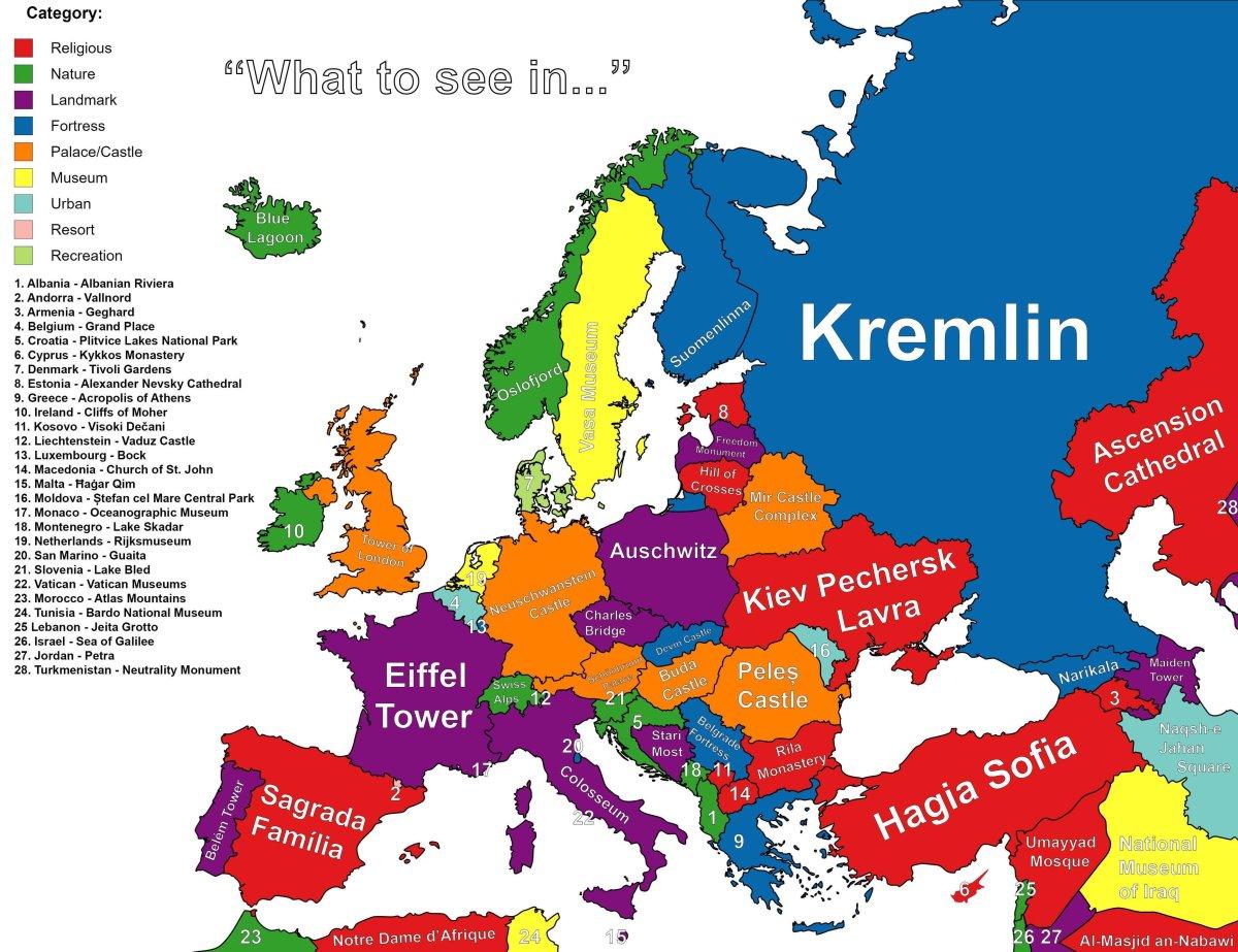 χάρτης με highlights κάθε χώρα, βασικά αξιοθέατα