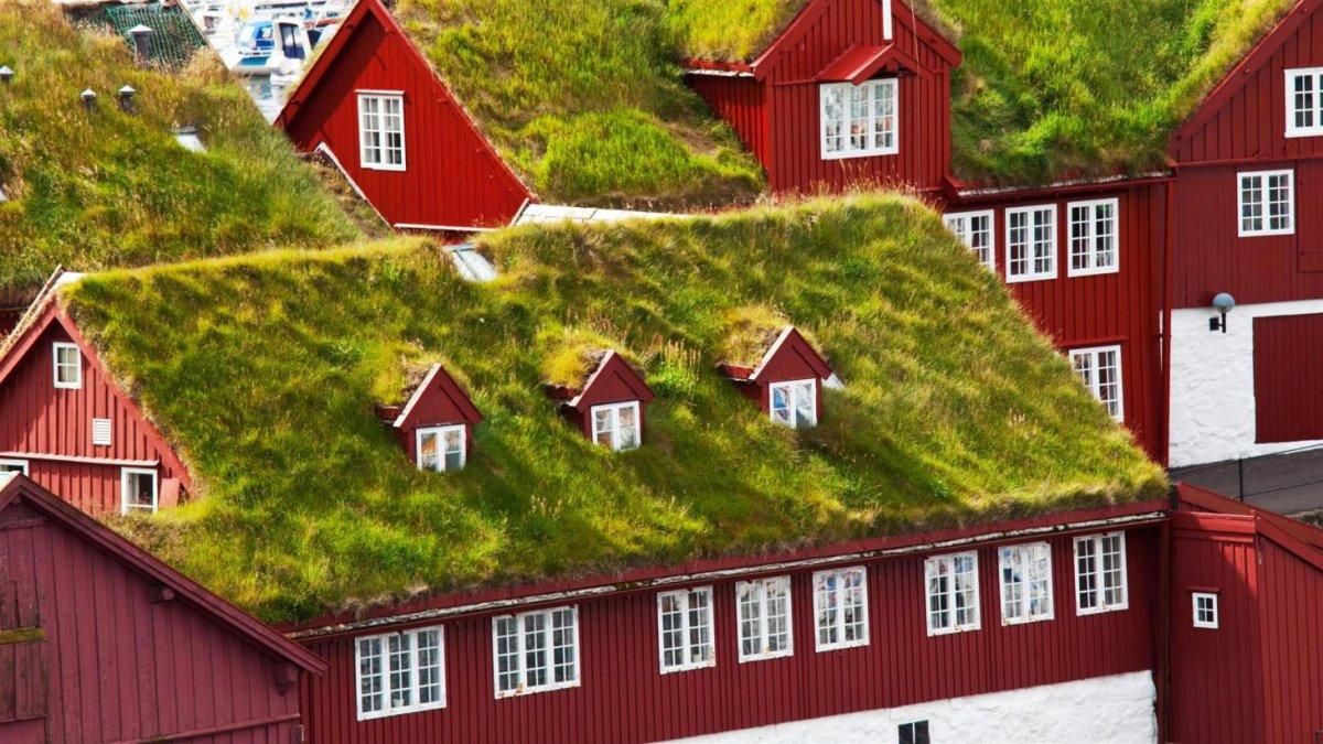 Torshavn σπίτια με χορταριασμένες στέγες