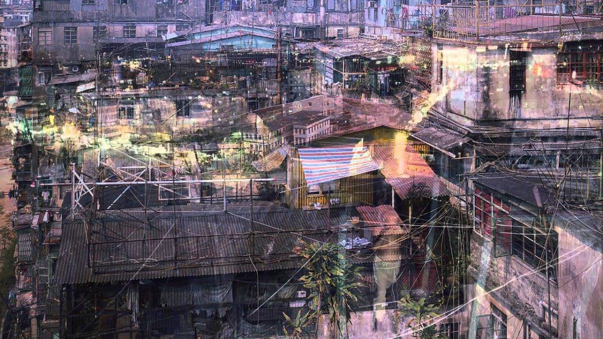 Kowloon πόλη παρανόμων Κίνα με παράγκες