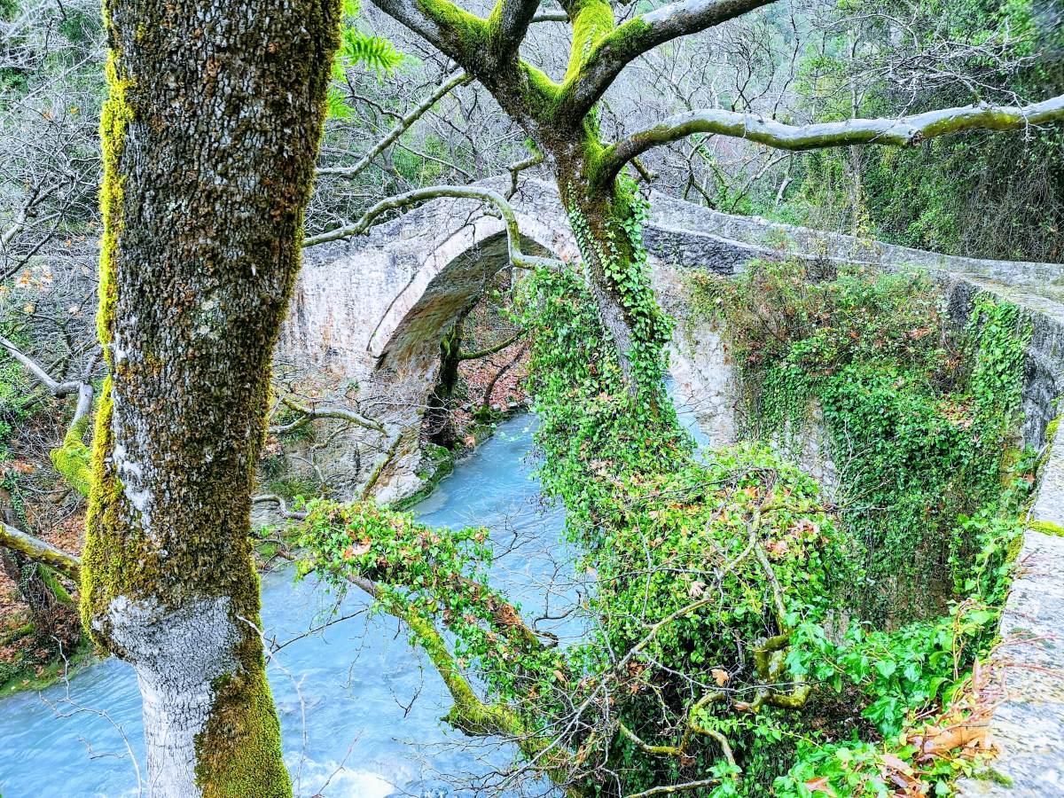 Η πέτρινη γέφυρα στον Λούσιο ποταμό, κοντά στη Στεμνίτσα, Πελοπόννησος