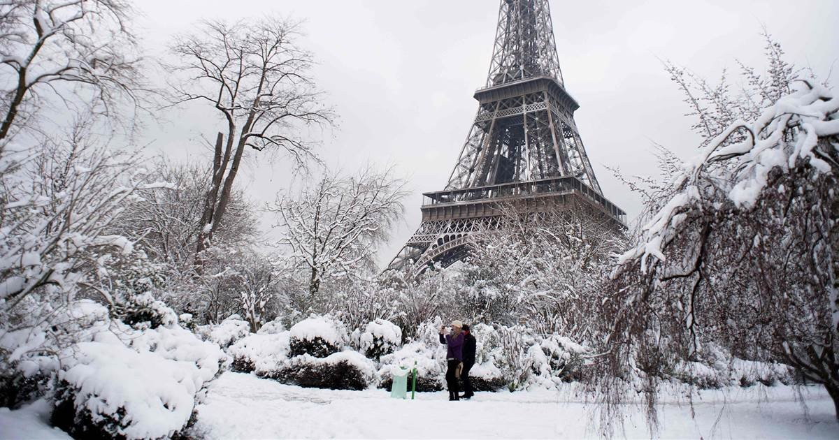 Eiffel χιόνια Παρίσι