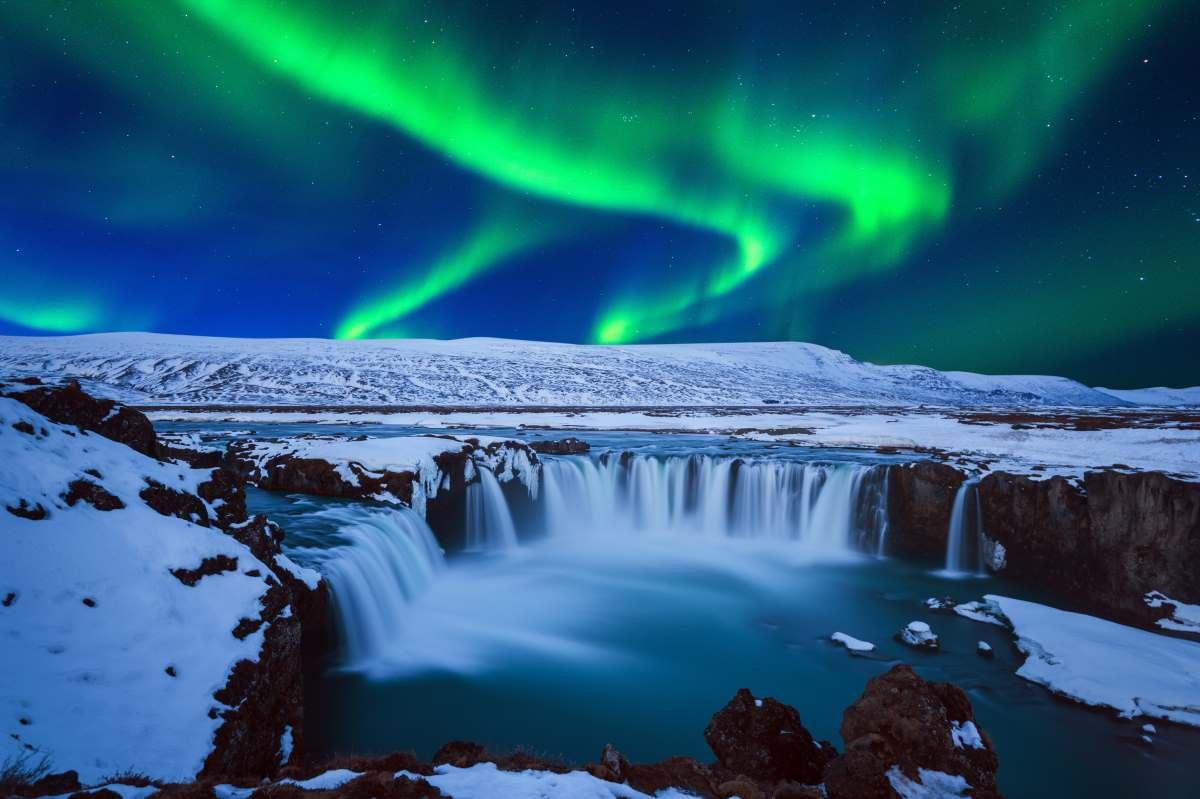 Καταρράκτες Godafoss και Βόρειο Σέλας, Ισλανδία