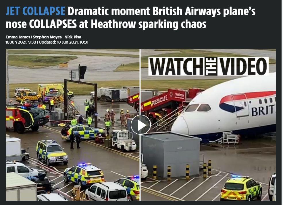 ατύχημα αεροσκάφους Χίθροου Λονδίνο