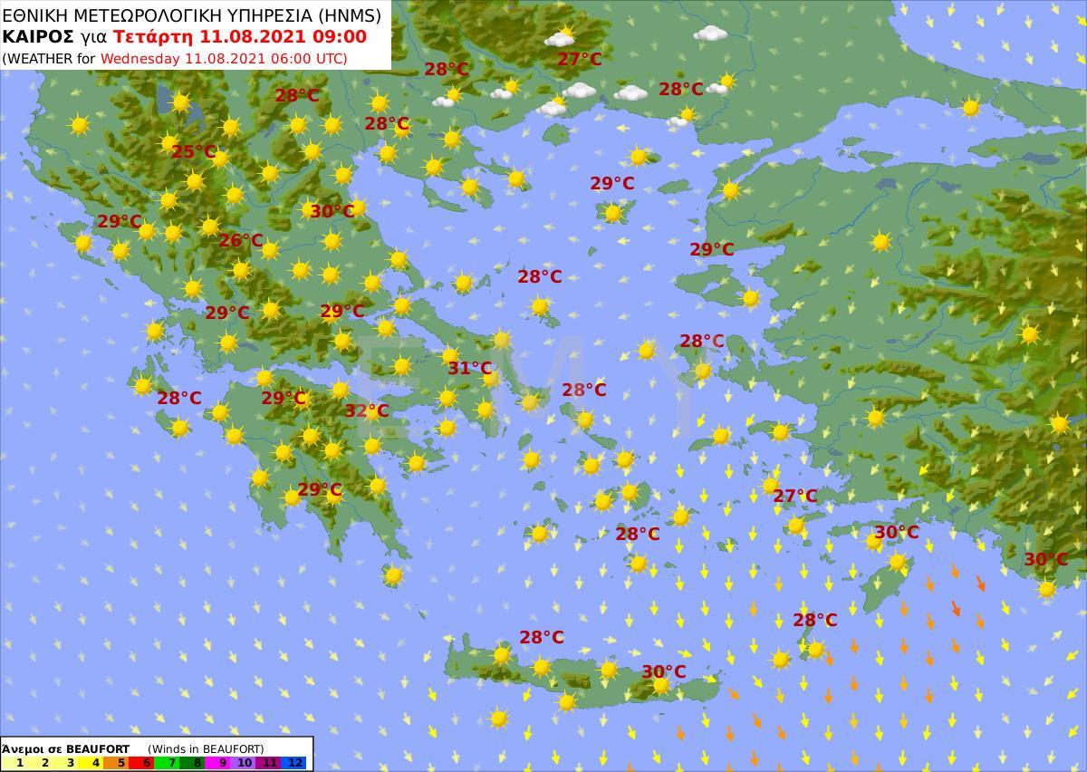 Καιρός 11/8: Συνεχίζουν οι υψηλές θερμοκρασίες σε όλη τη χώρα