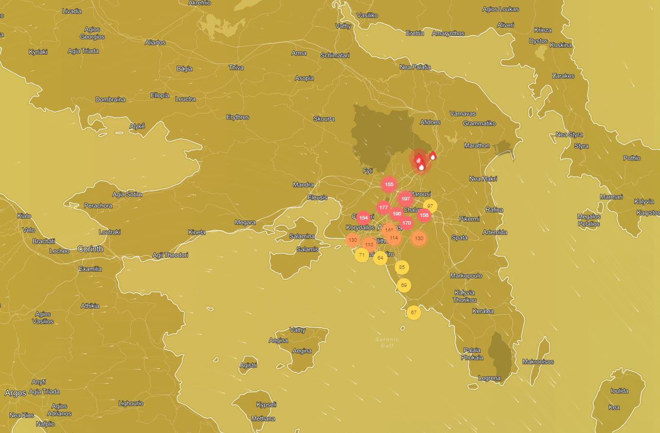 χάρτης iqair.com