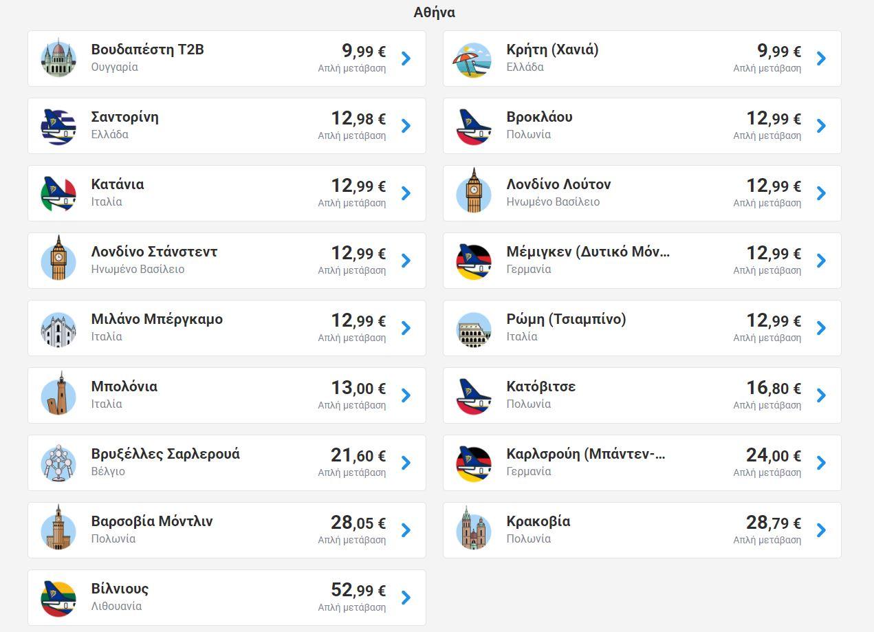 Ryanair: Νέα προσφορά – Πτήσεις εσωτερικού & εξωτερικού από €19,99 για ταξίδι το Φθινόπωρο